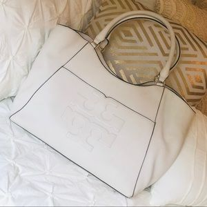 Tory Burch Bombé-T Leather Tote in white